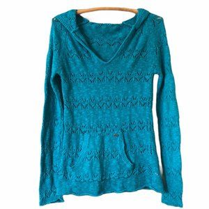 Roxy Open Knit Hooded Blue Top Size S